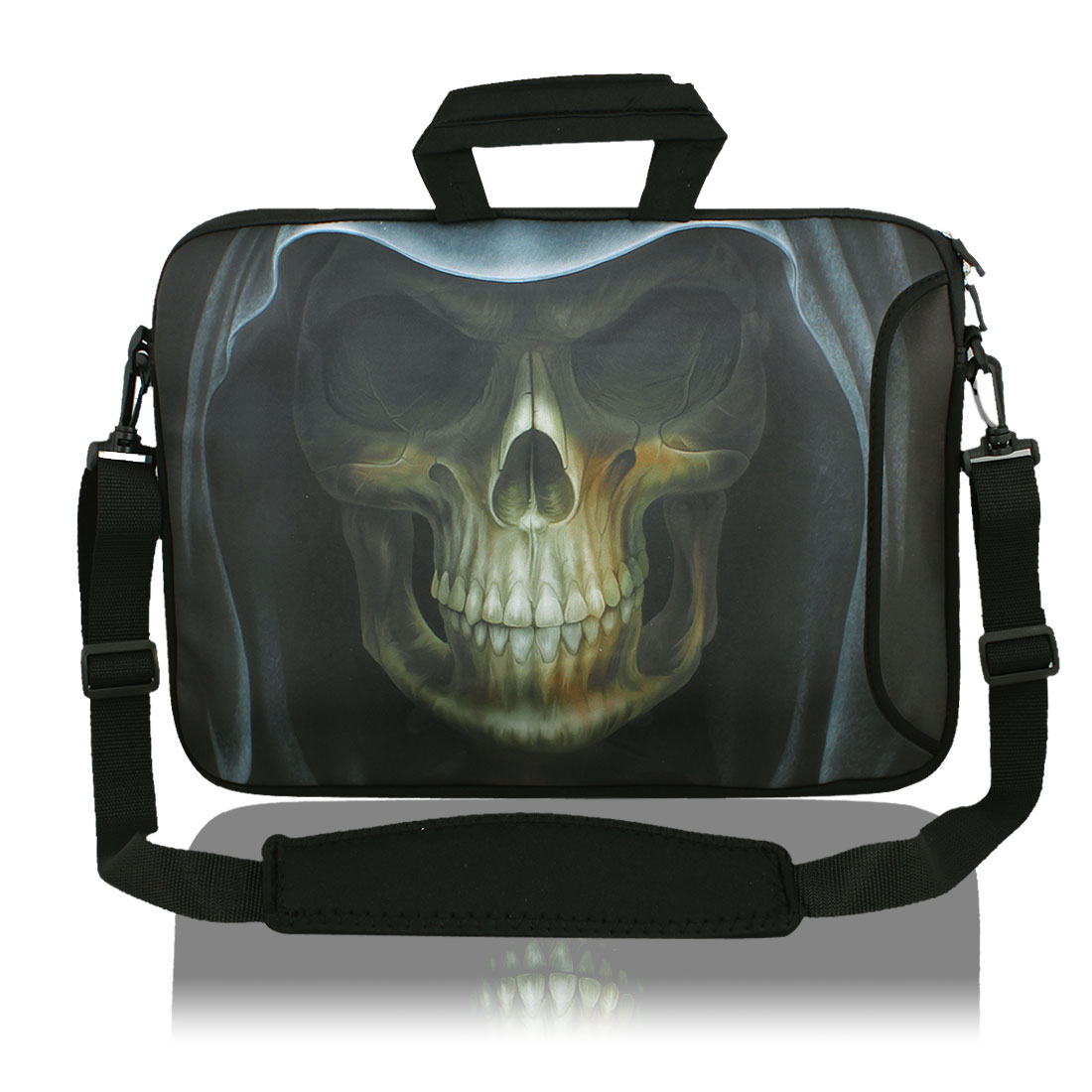 "13"" 13.3"" Skull Notebook Laptop Sleeve Handbag Case w Shoulder Strap for Asus HP"