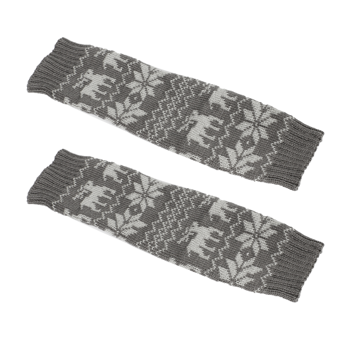 Pair Dark Gray Nordic Pattern Stretchy Toeless Knee High Leg Warmer Socks for Lady