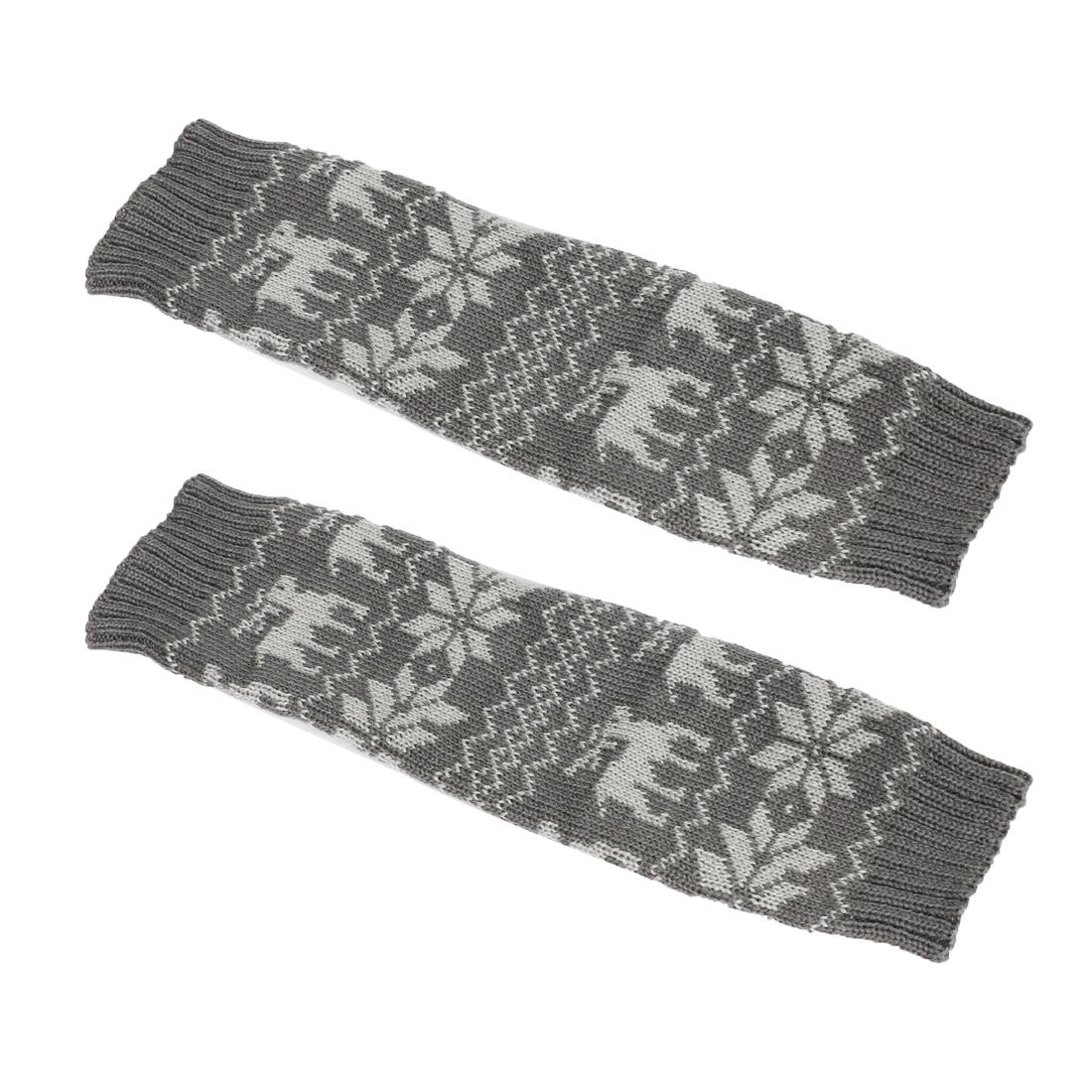 Pair Dark Gray Nordic Pattern Stretchy Toeless Knee High Leg Warmer Socks for Lady