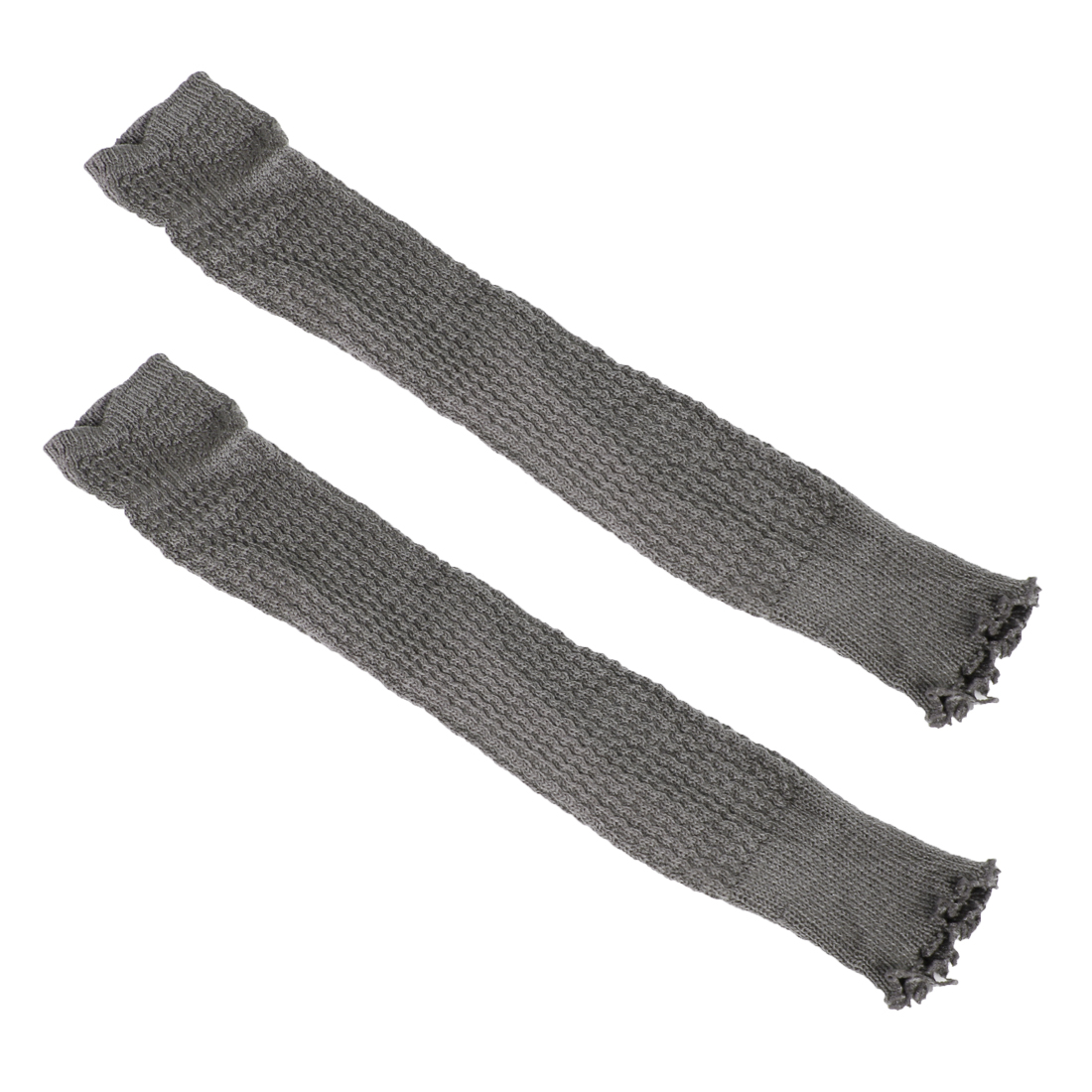 Women Toeless Knee High Leg Warmer Knitted Socks Pair Gray