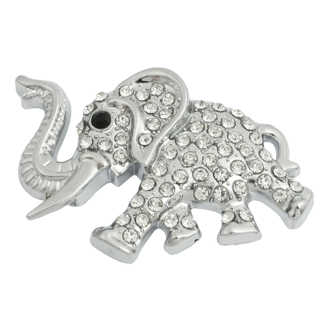Clear Rhinestone Inlaid Silver Tone Elephant Style Car Sticker Decor