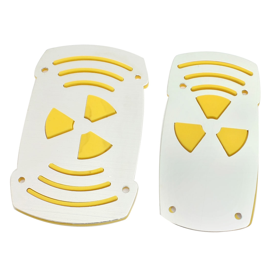 2 Pcs Yellow Silver Tone Nonslip Pedal Covers for Automatic Transmission Car