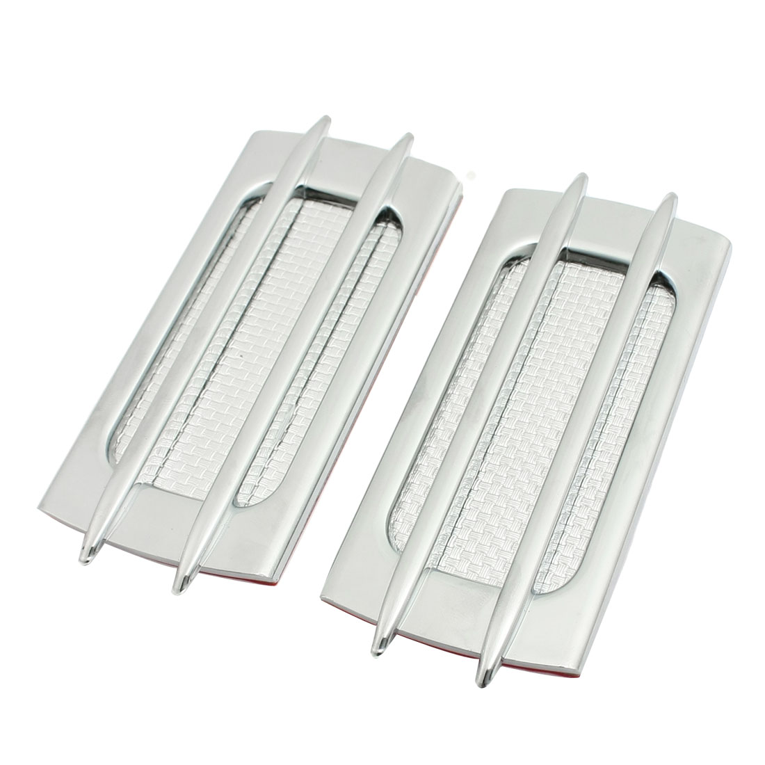 2 Pcs Auto Car Silver Tone Plastic Protective Air Flow Sticker Decor