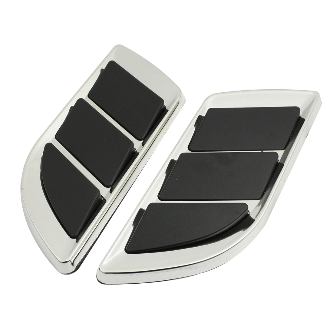 2 Pcs Car Silver Tone Black Plastic Protective Air Flow Sticker Decor