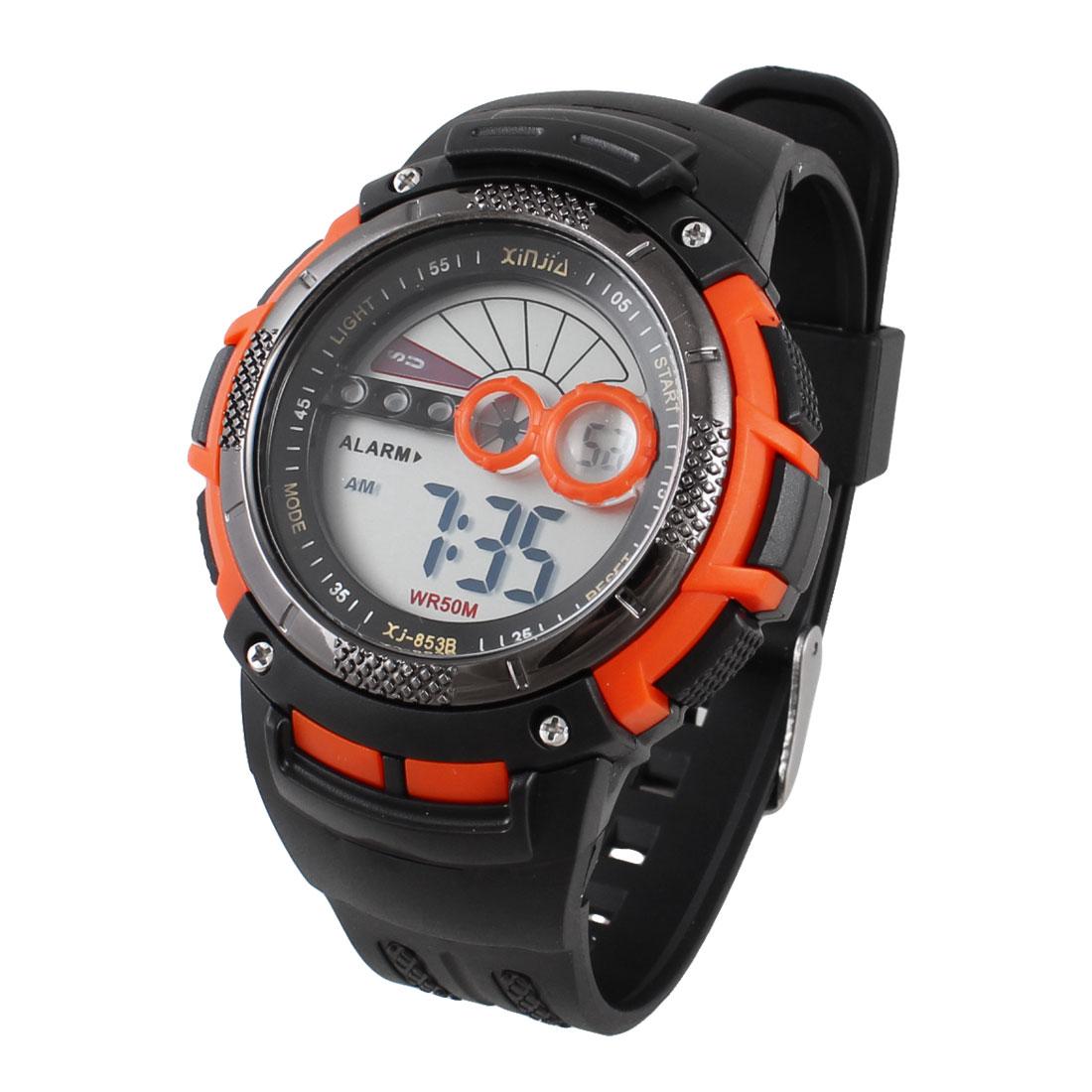 Men Adjustable Watchband Round Orange Red Case Backlight Alarm Sports Watch
