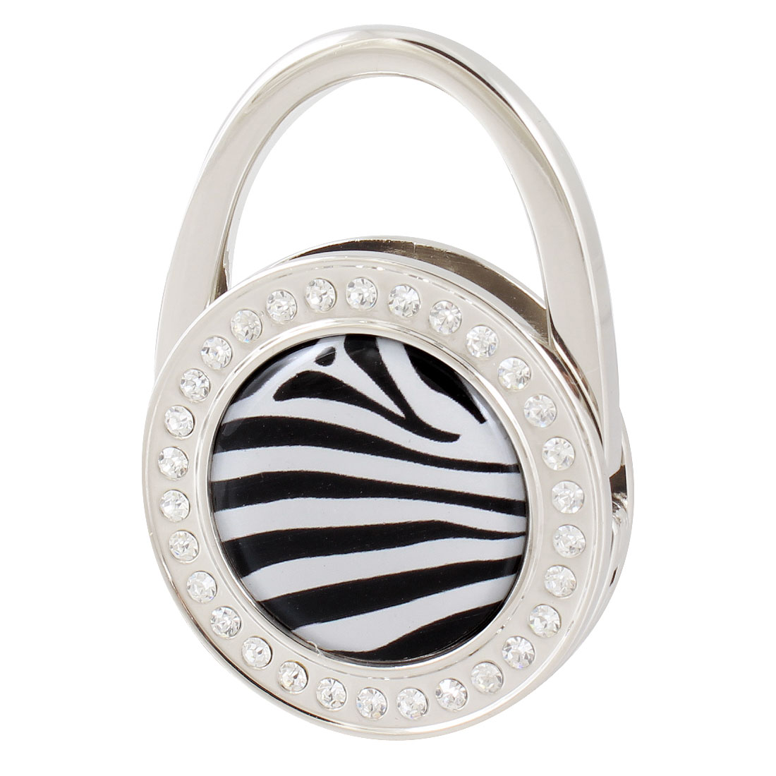 Lady Padlock Shape Black Zebra Pattern Rhinestone Accent Folding Handbag Hook