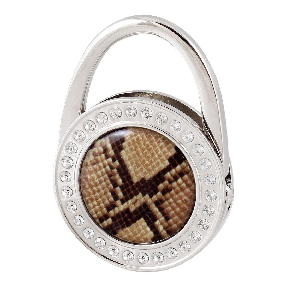 Padlock Shape Brown Snake Pattern Rhinestone Decor Foldable Handbag Hook for Women