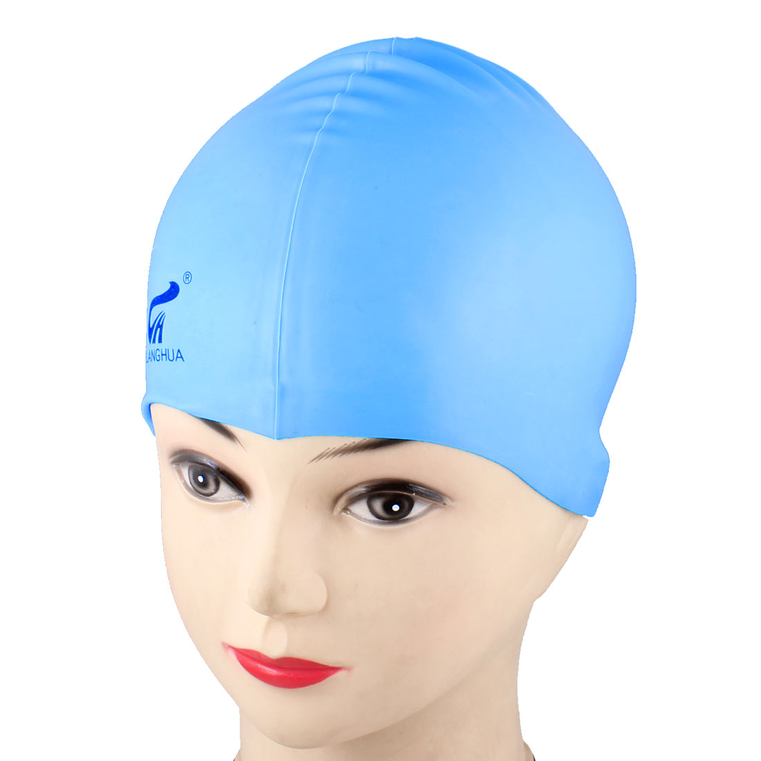 Swimming Swim Sports Dome Shaped Stretchy Hat Cap Light Blue for Adults