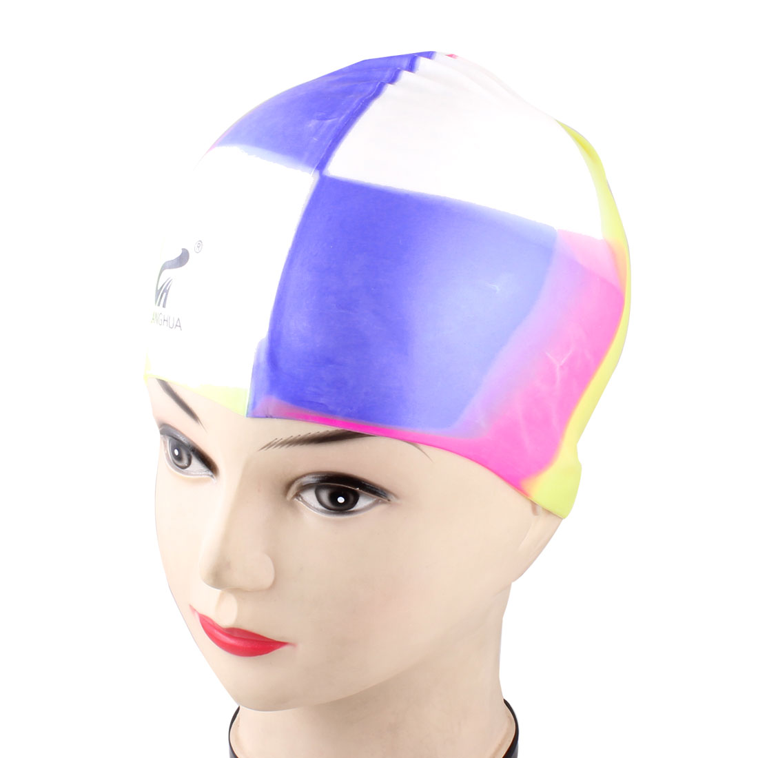 Dome Shape Yellow Silicone Stretchy Swimming Cap Hat for Woman Man