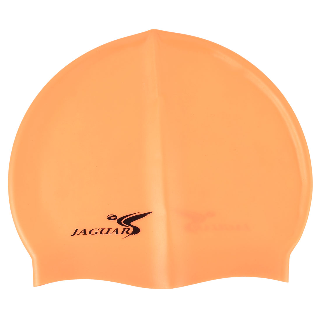 Dome Shape Light Orange Silicone Stretchy Swim Cap Hat for Women Men