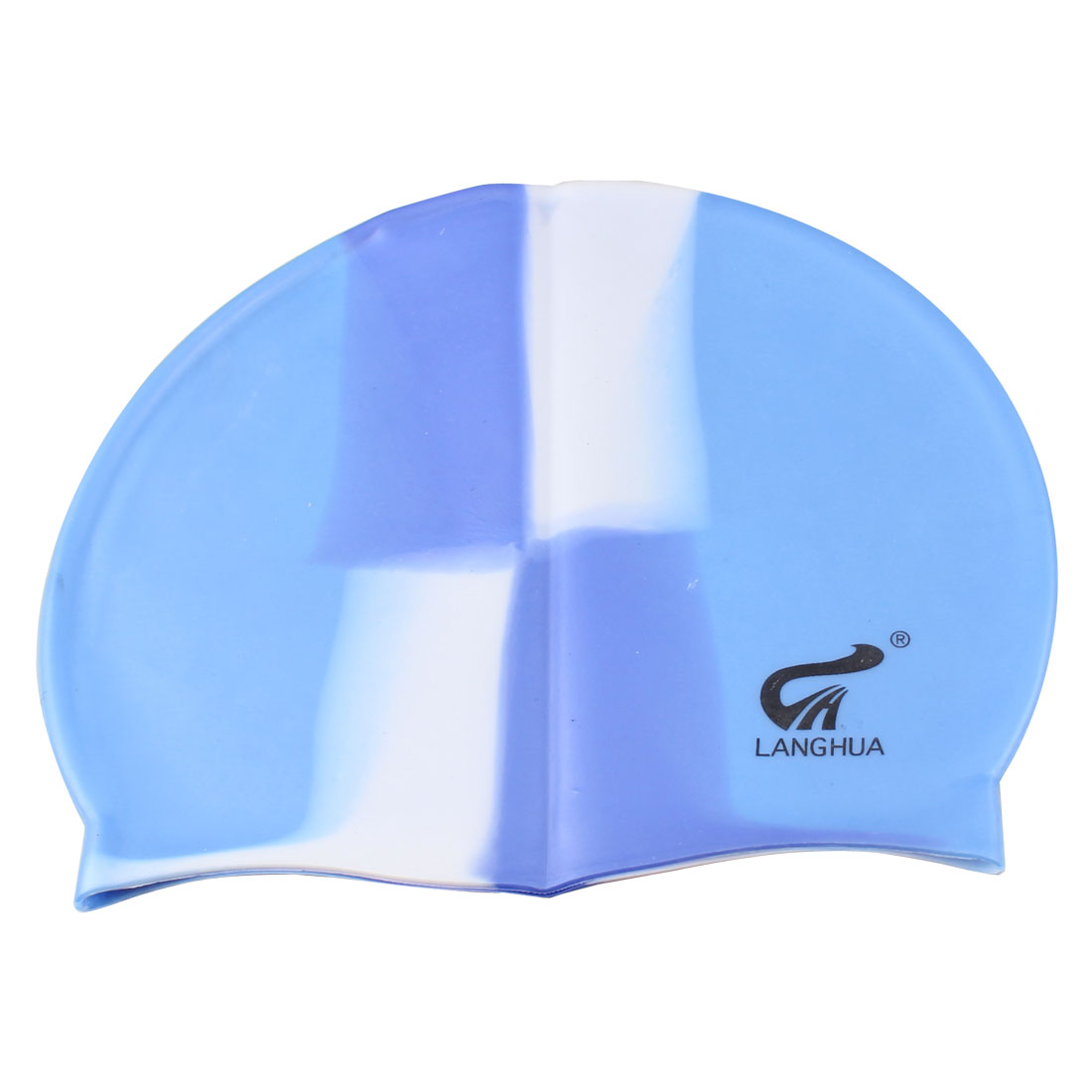 Ladies Men Dome Shaped Elastic Light Blue Silicone Swimming Swim Cap Hat