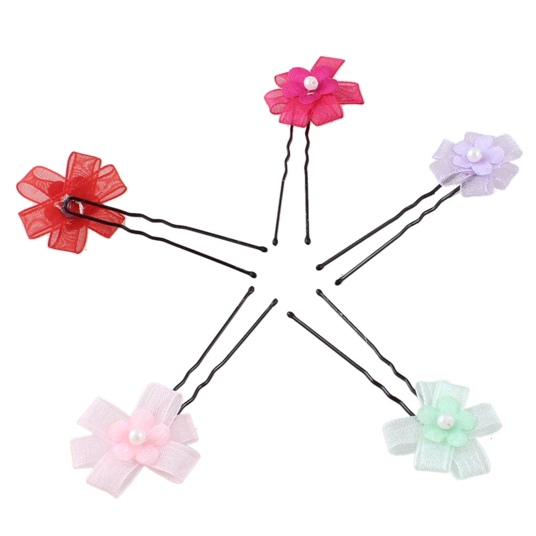 Girl Plastic Bead Centering Colorful Flower Decor Metal Hair Grips Pins Clips 5 Pcs