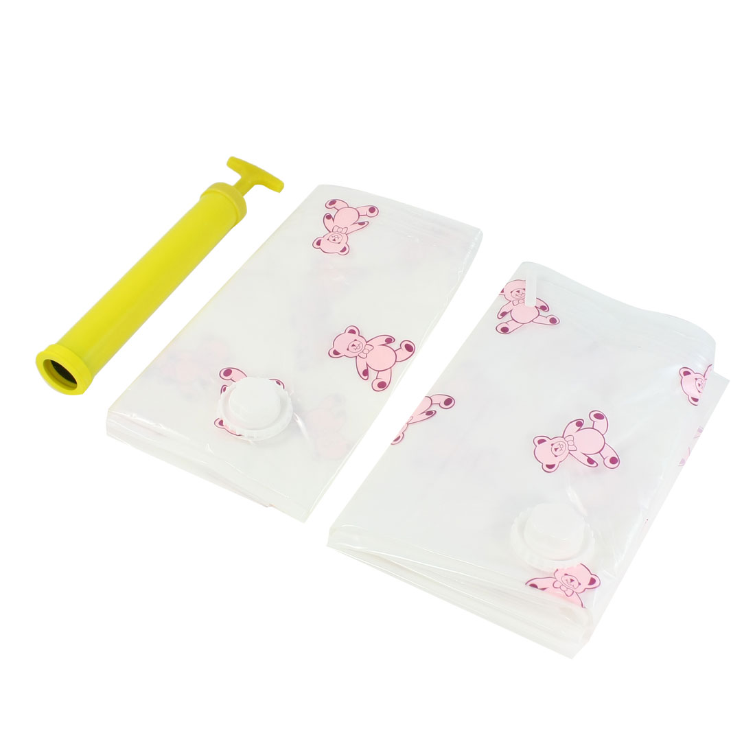 2 Pcs Bear Pattern Space Saver Vacuum Compressed Storage Bag White w Yellow Pump
