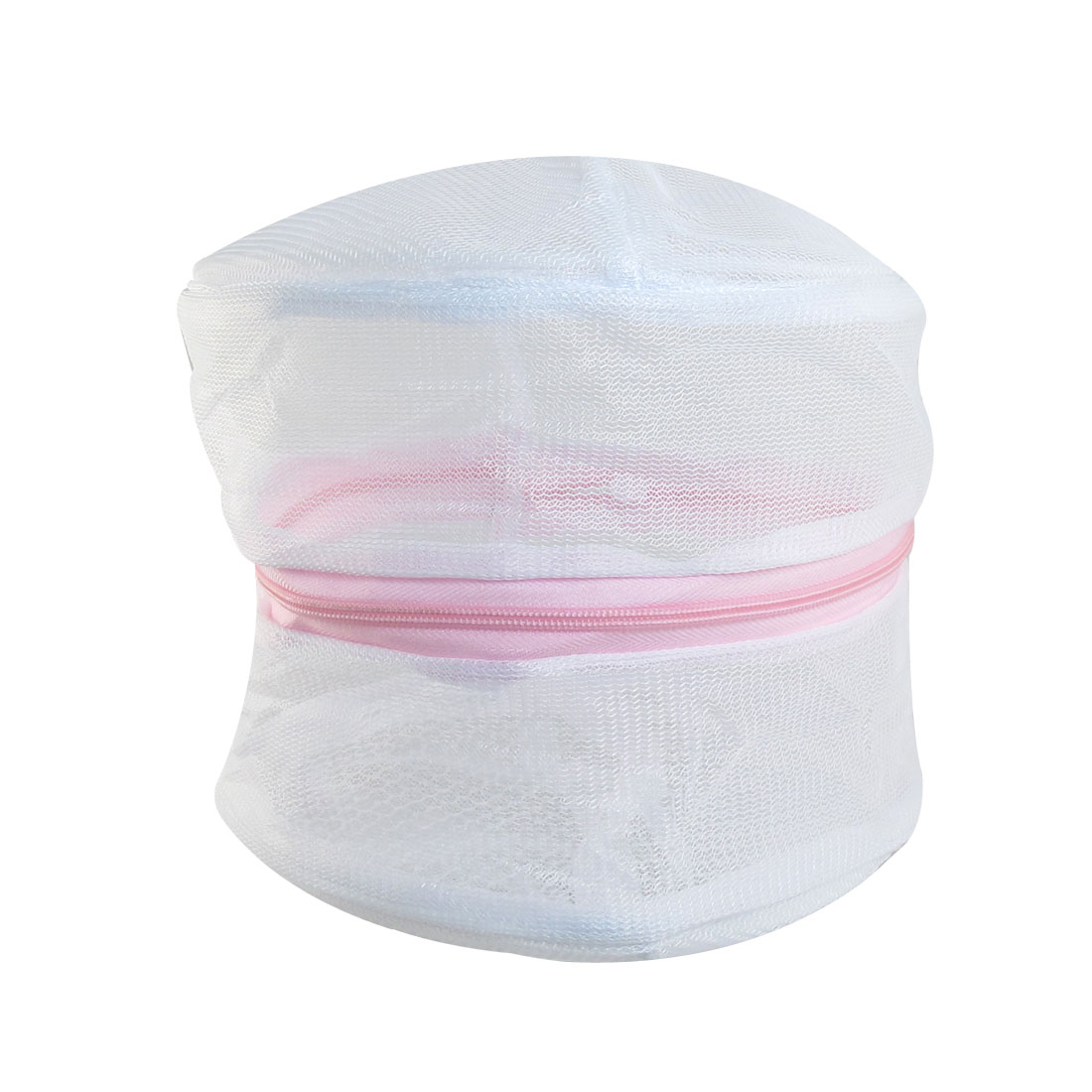 Pink Zipper Mesh Laundry Underwear Bra Washing Bag White