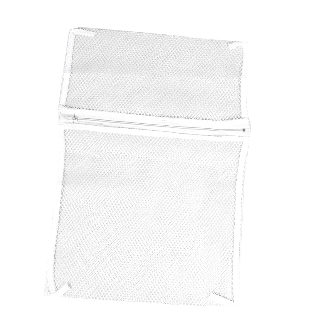 Meshy Design Zip Up Laundry Clothes Washing Bag White 40cm x 30cm