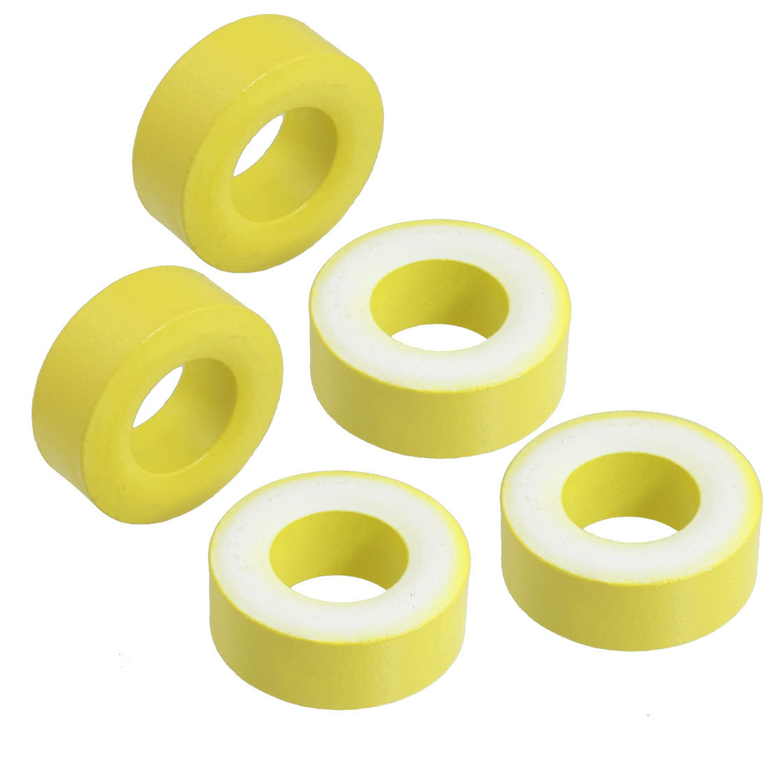 5 Pcs 27mm x 14mm x 11mm Yellow White Iron Core Power Inductor Ferrite Ring