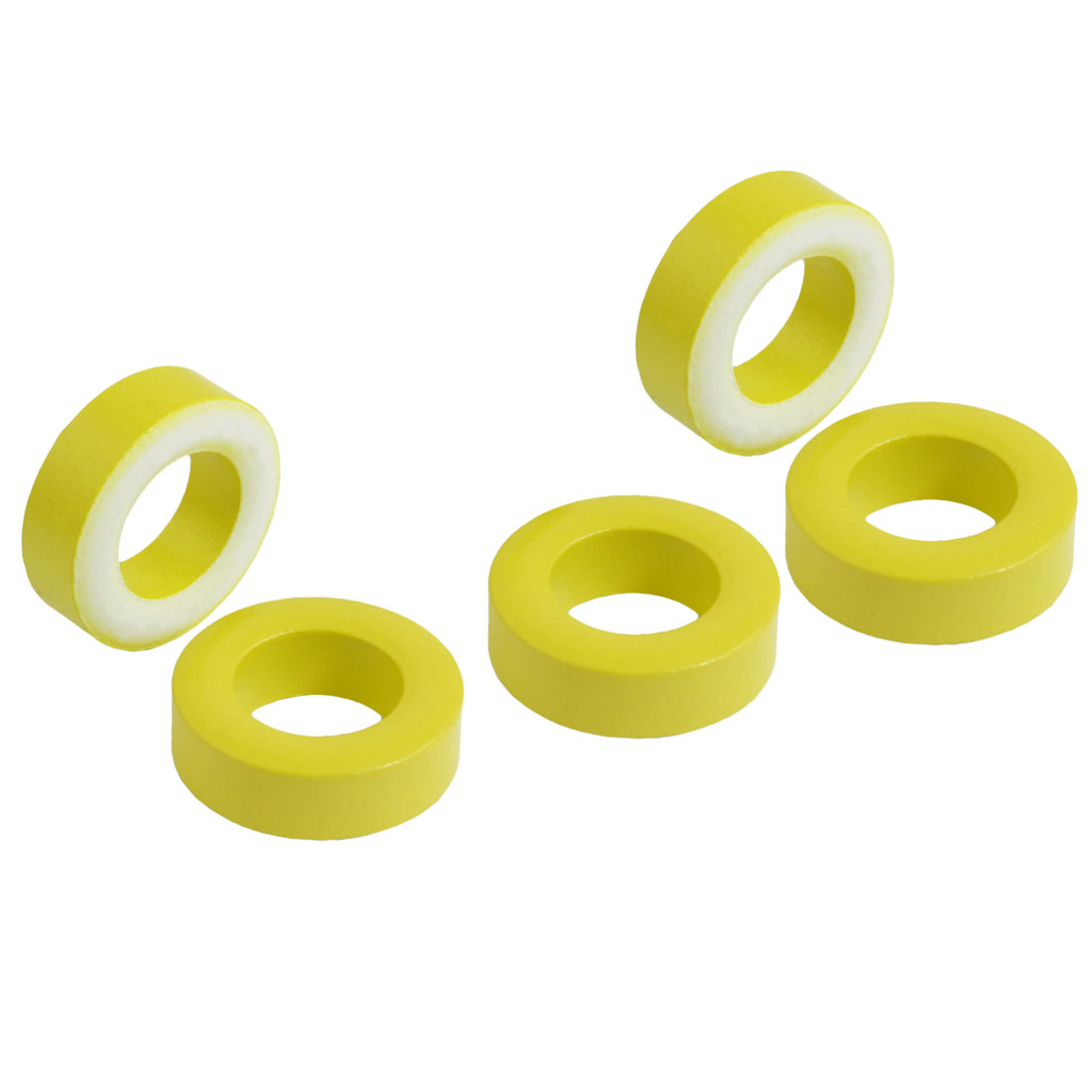 5 Pcs 24mm x 14mm x 8mm Yellow White Iron Core Power Inductor Ferrite Ring