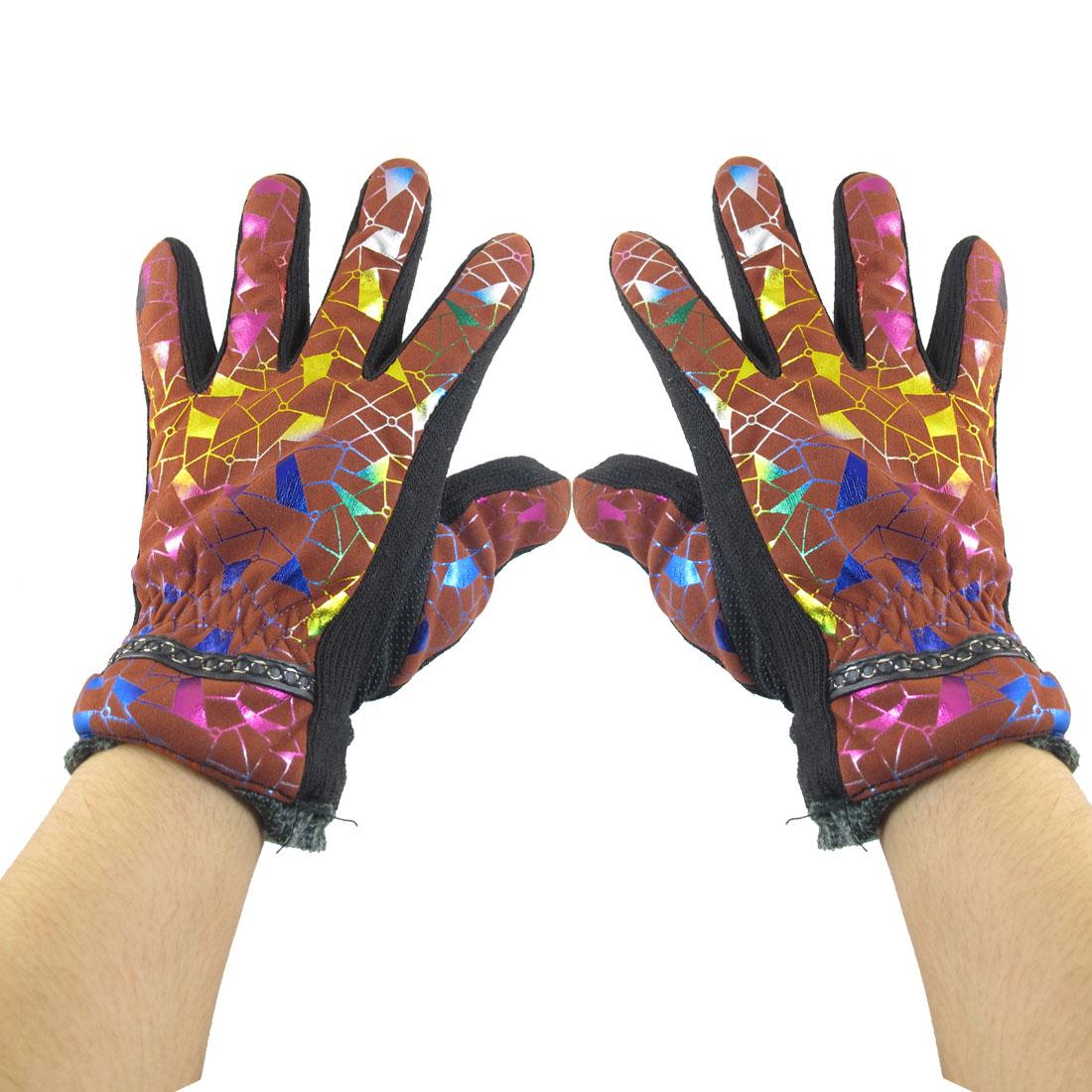 Geometric Pattern Nonslip Palm Design Winter Gloves Brick Red for Women
