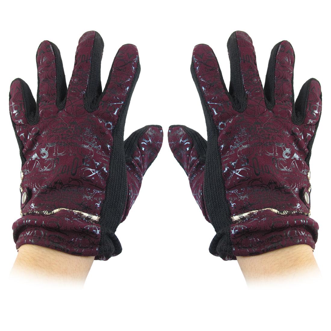 Letters Pattern Full Finger Winter Gloves Fuchsia for Women
