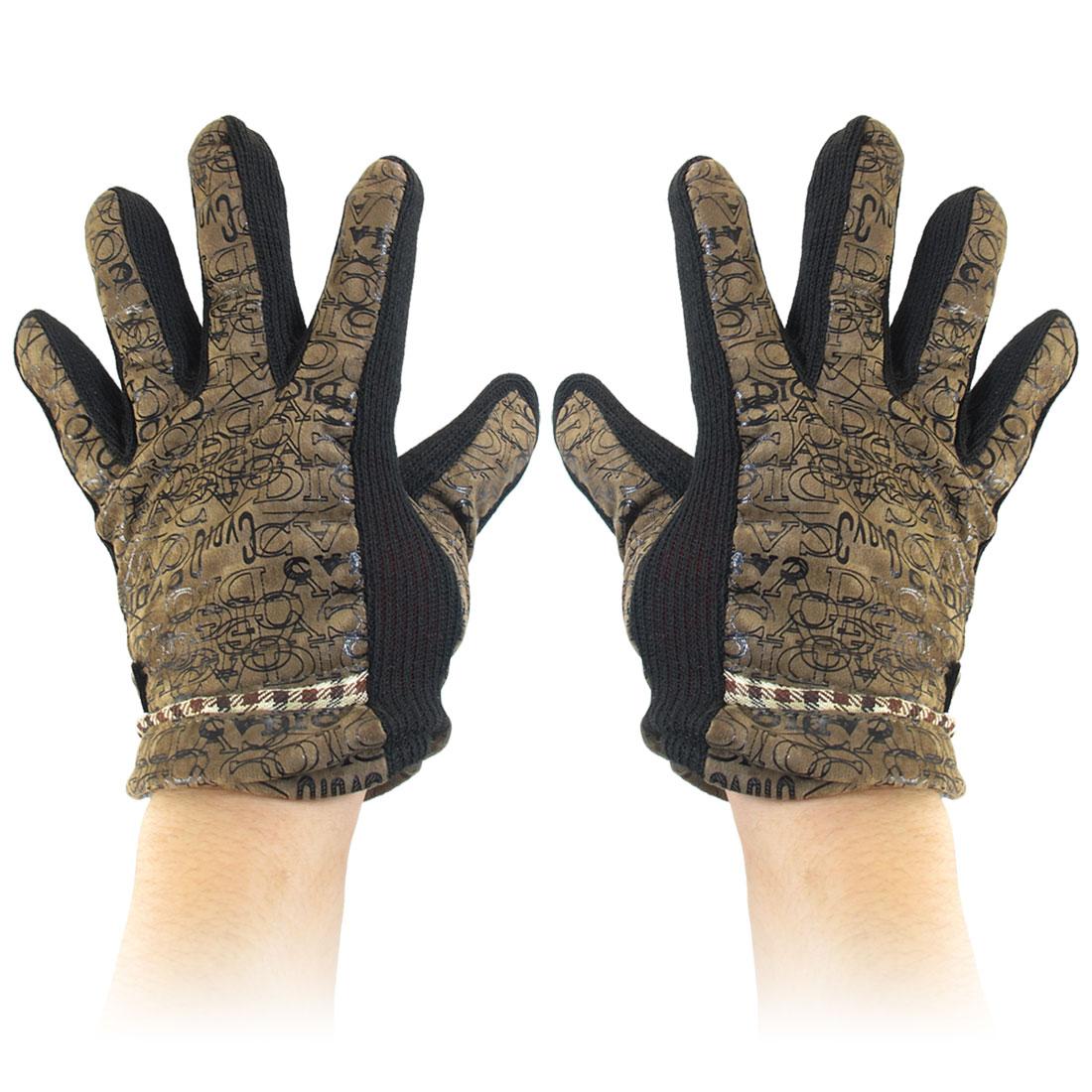 Ladies Letters Prints Fleece Lining Winter Warm Gloves Camel