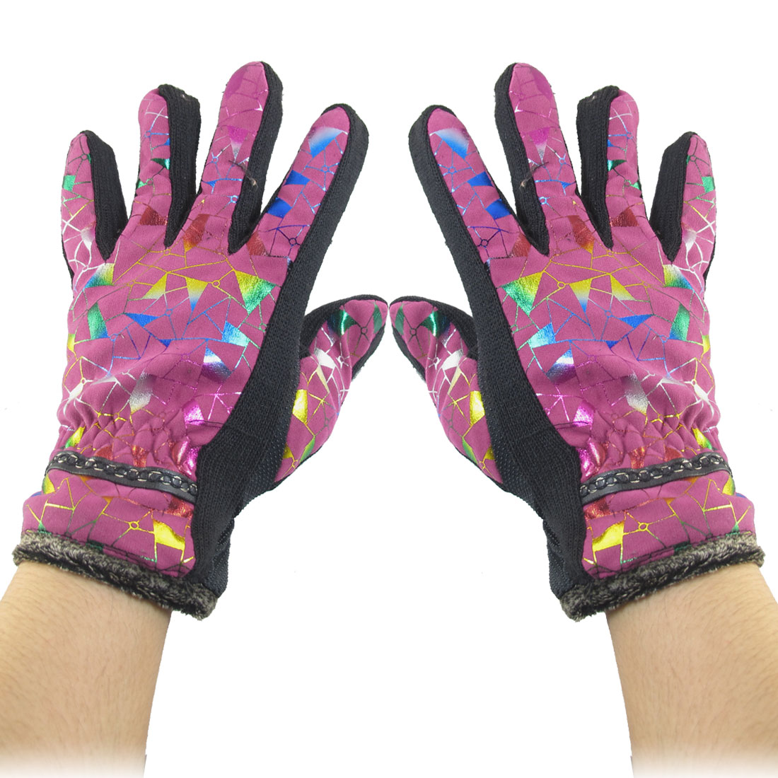 Geometric Pattern Nonslip Palm Design Winter Gloves Fuchsia for Women