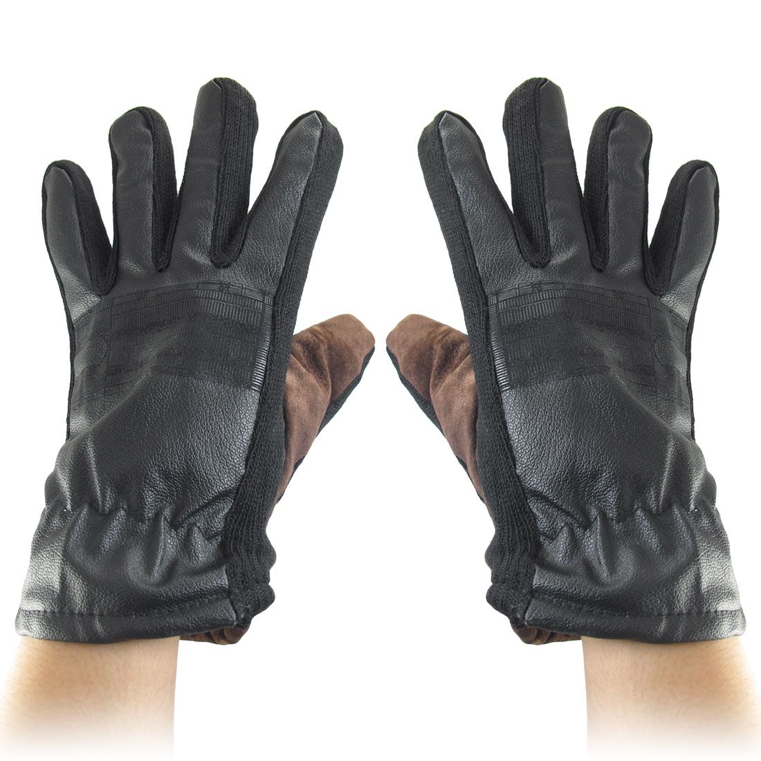 Knitted Rim Full Finger Winter Gloves Chocolate Black for Men