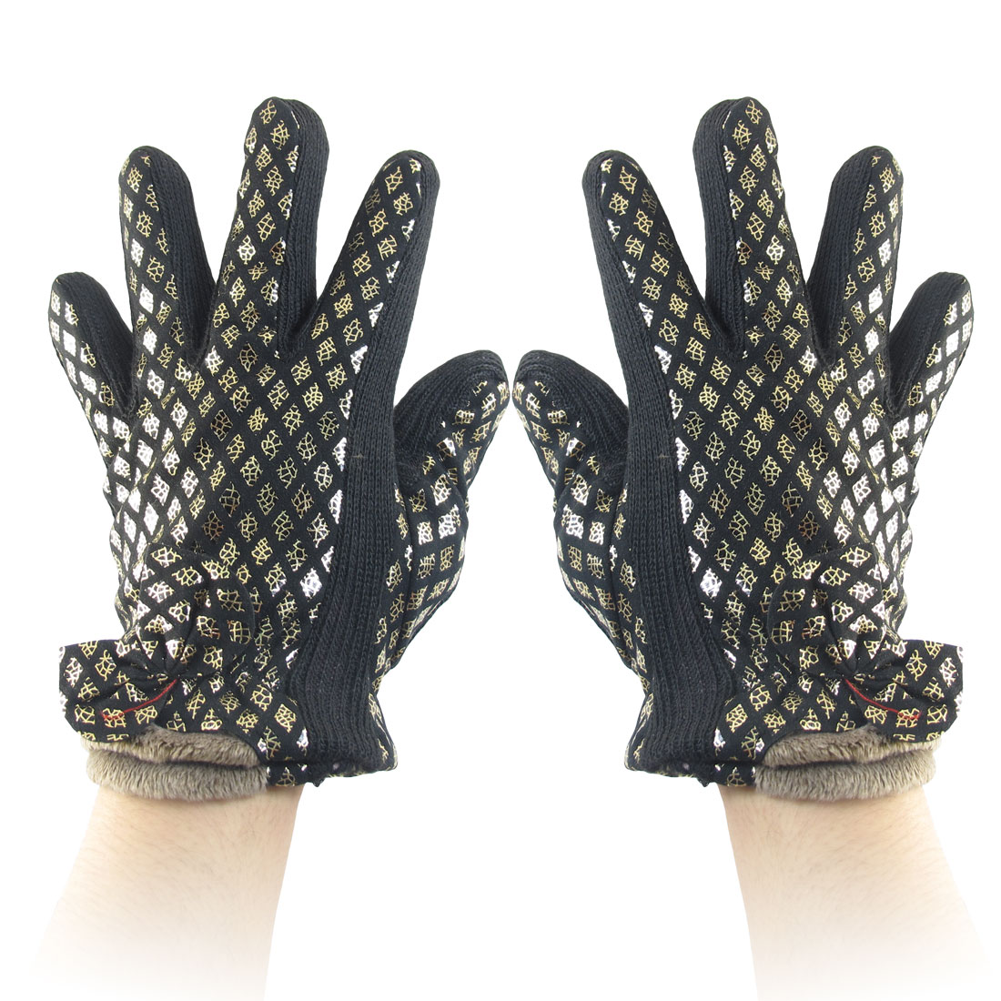 Woman Kintted Rim Bowknot Decor Full Finger Gloves Black