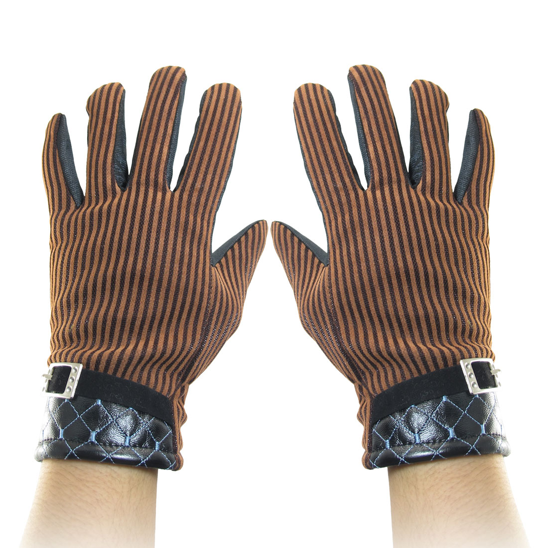 Stripes Pattern Full Finger Winter Gloves Brown Black for Woman