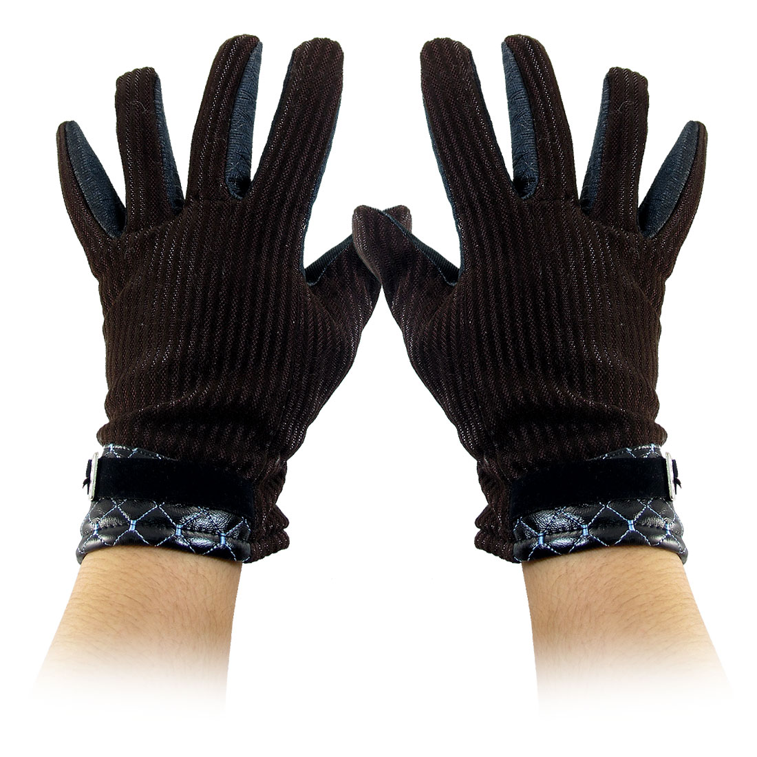 Stripes Pattern Full Finger Winter Gloves Coffee Color Black for Woman