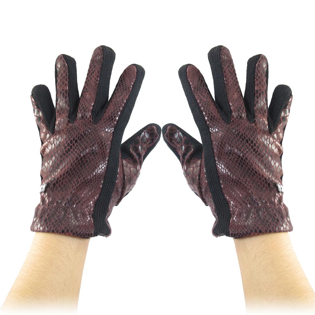 Ladies Snake Printed Full Finger Winter Warm Gloves Burgundy Black