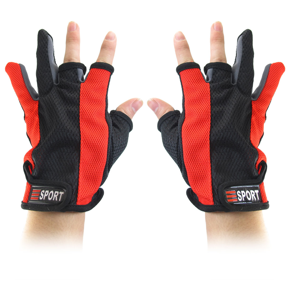 Nonslip Palm Detachable Closure 3 Fingerless Red Black Fishing Gloves