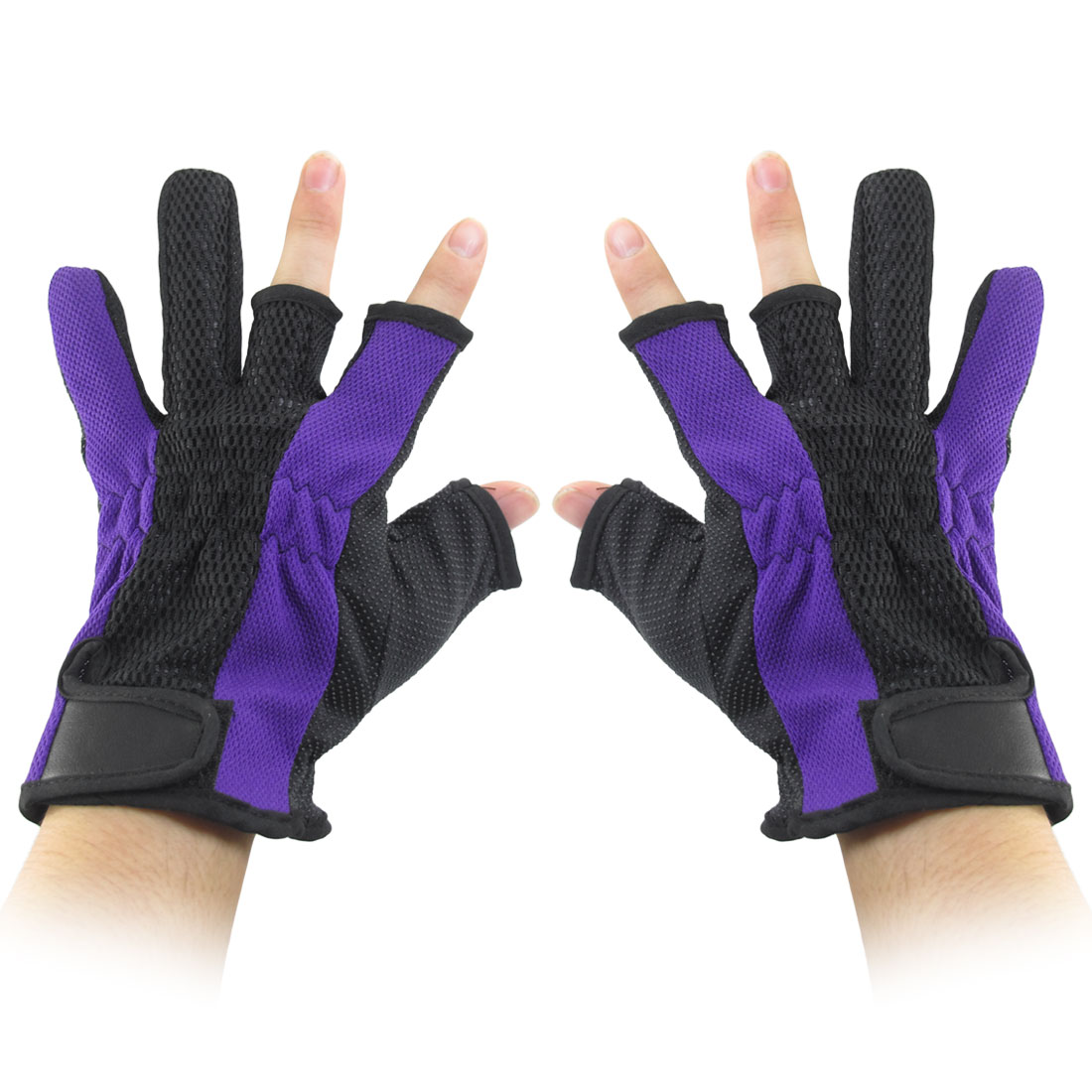 Nonslip Palm Detachable Closure 3 Fingerless Purple Black Fishing Gloves