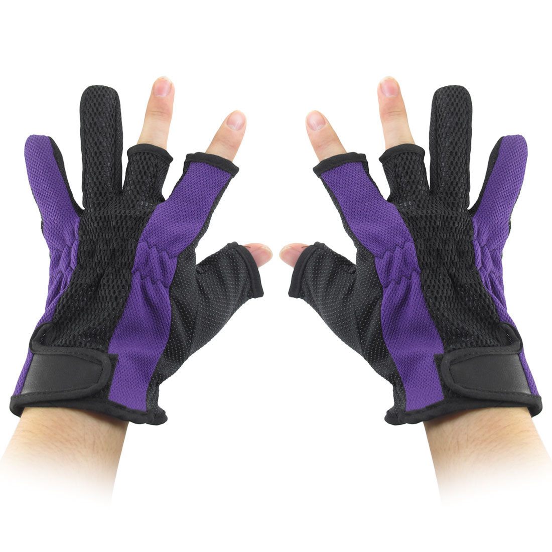 Antislip Palm Loop Hook Fastener 3 Fingerless Dark Purple Black Fishing Gloves