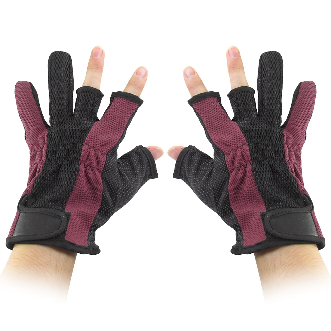 Antislip Palm Loop Hook Fastener 3 Fingerless Dark Red Black Fishing Gloves