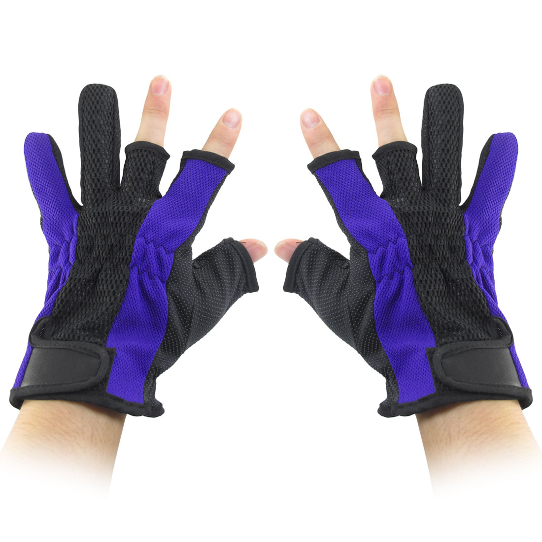 Nonslip Detachable Closure Two Finger Fishing Protector Gloves Royal Blue Black