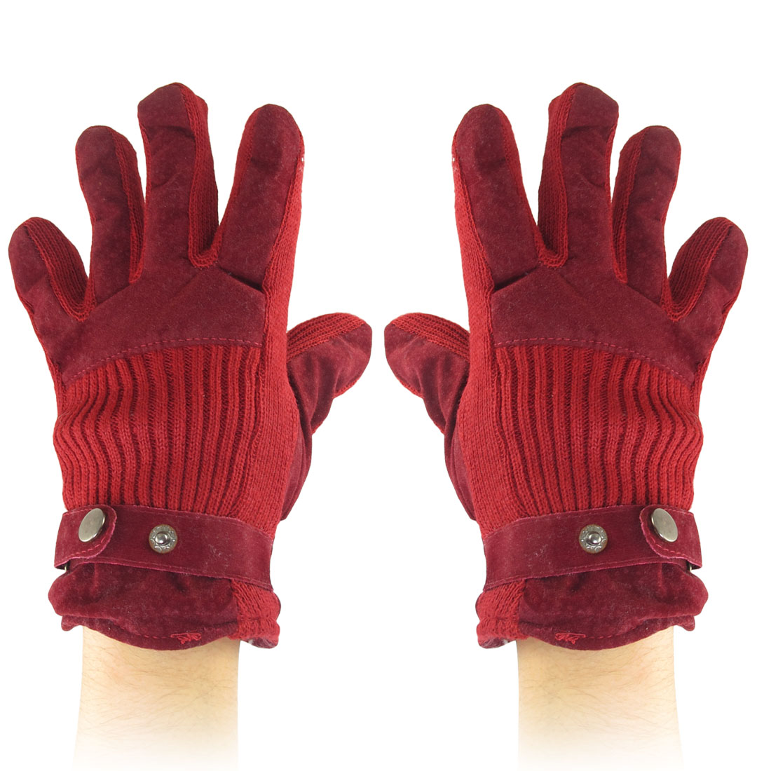 Press Stud Fastener Full Finger Winter Gloves Red for Women