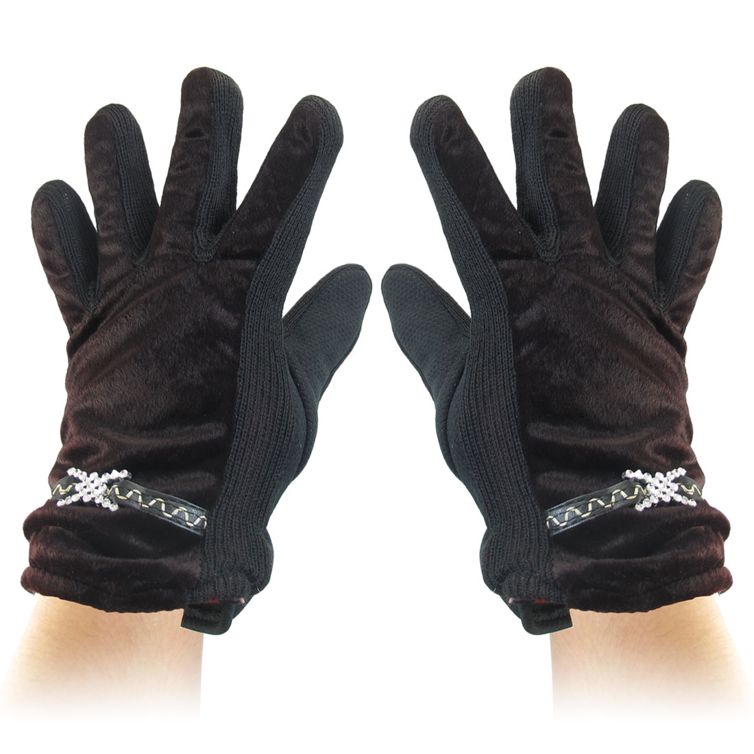Cross Accent Full Finger Winter Gloves Coffee Color Black for Ladies