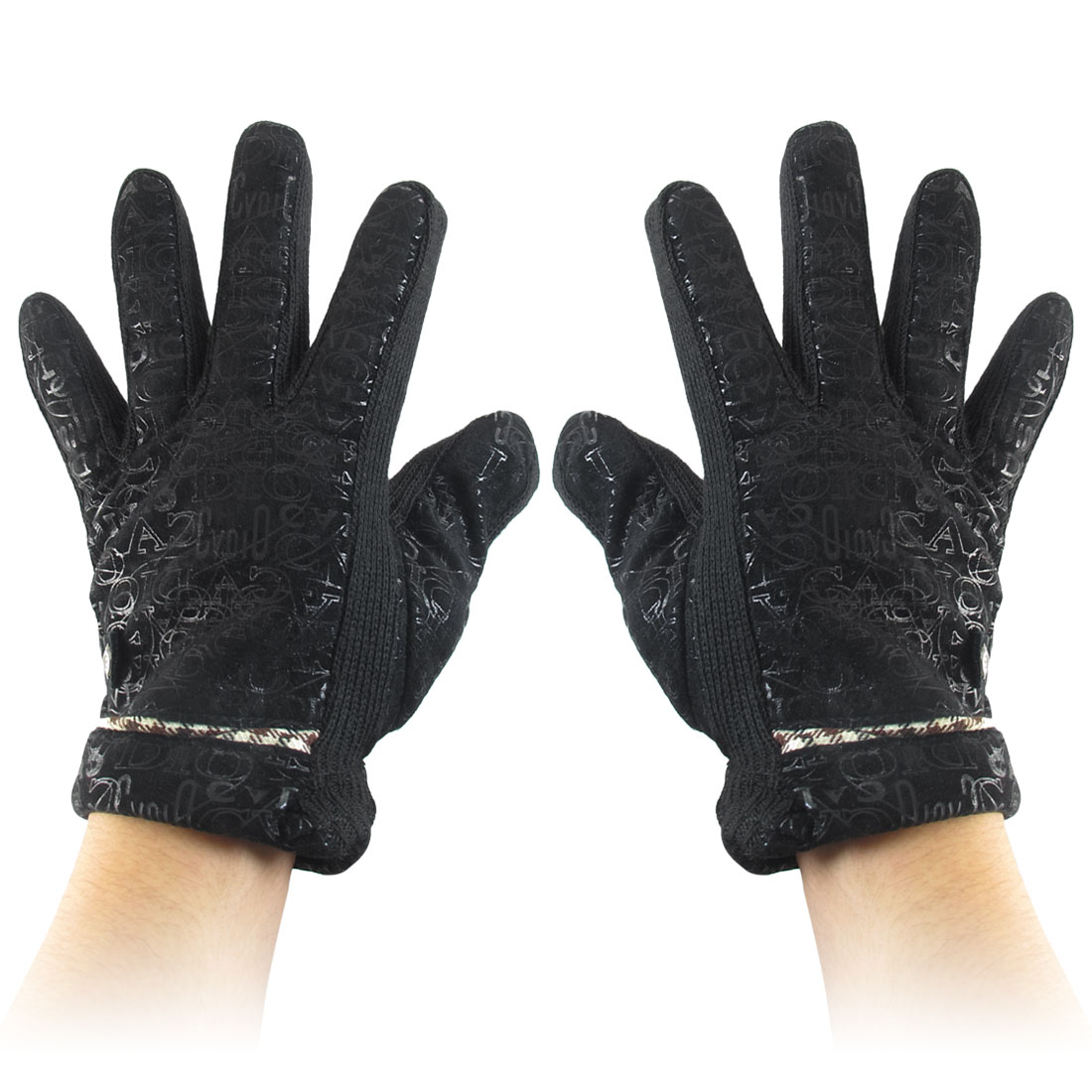 Letters Pattern Full Finger Winter Gloves Black for Women