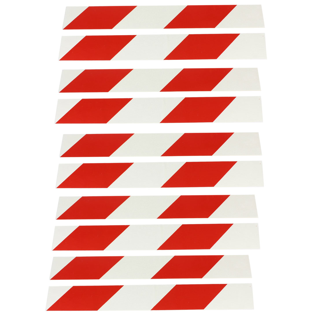 10 Pcs Adhesive Red Silver Tone Diagonal Stripe Car Reflective Sticker Decal