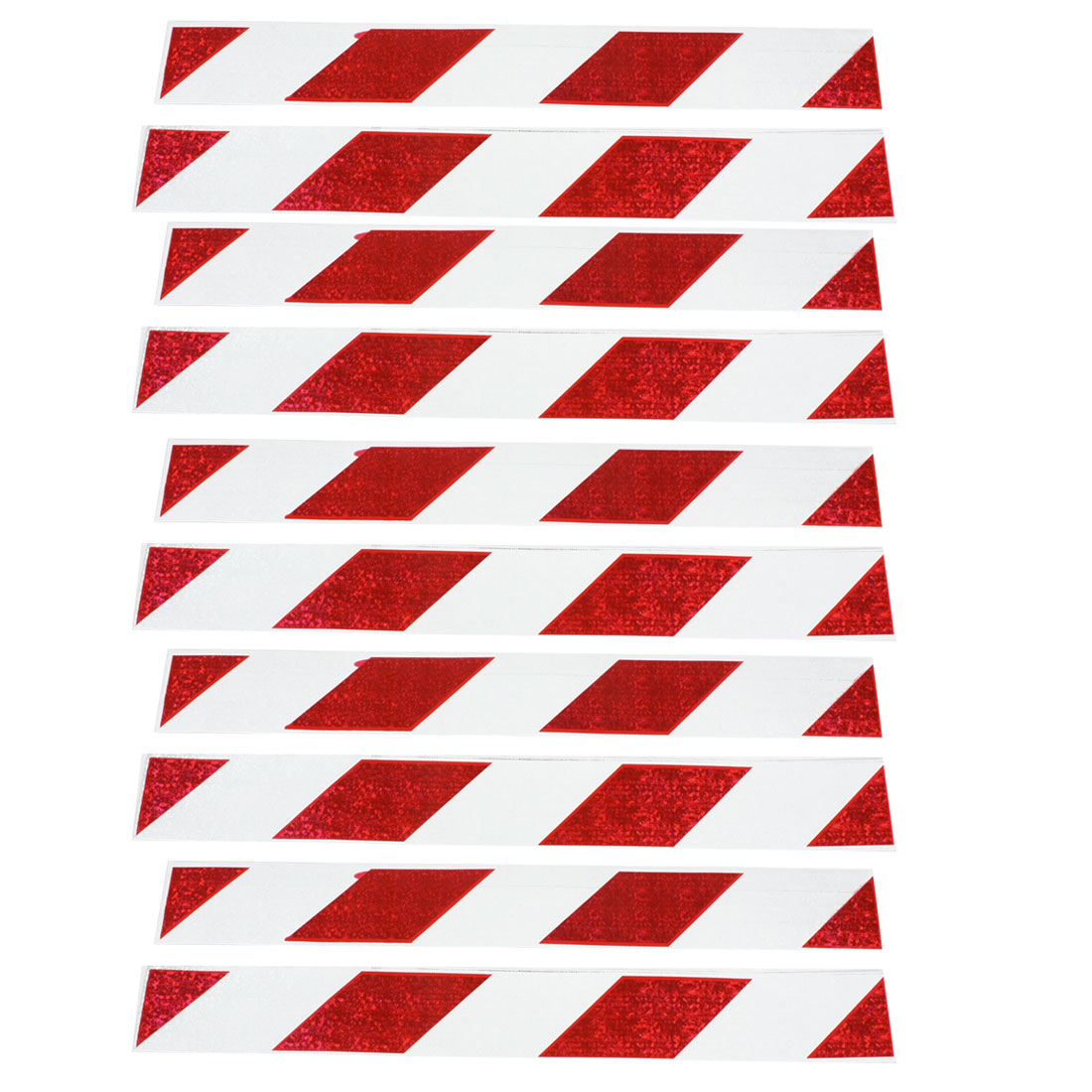 10 Pcs Diagonal Stripe Reflective Truck Van Car Sticker Decal Sign Red White