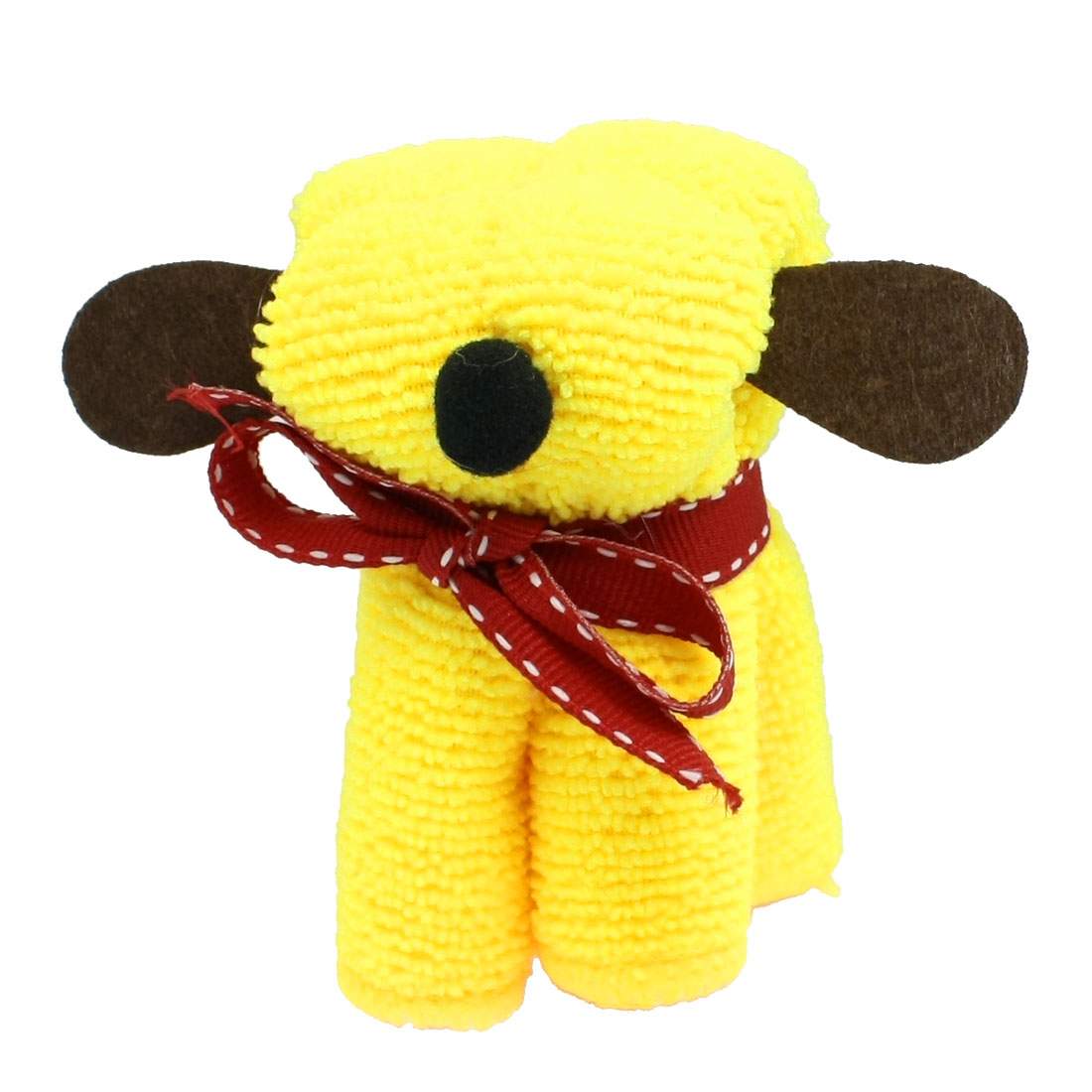 Wedding Party Red Ribbon Yellow Terry Puppy Dog Design Hand Towel 20cm x 20cm