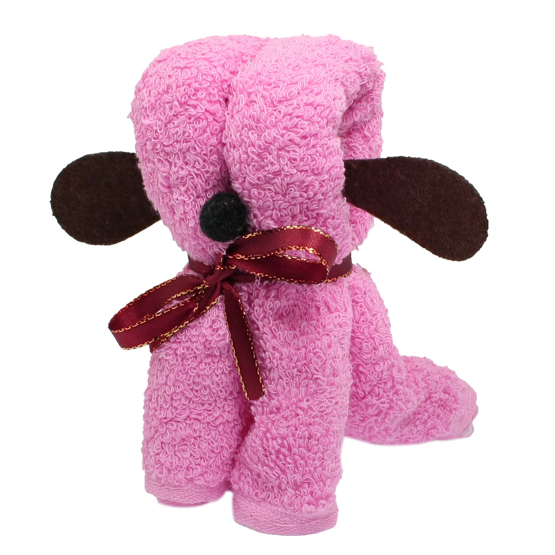 Wedding Favor Burgundy Ribbon Pink Terry Puppy Design Hand Towel 29cm x 29cm