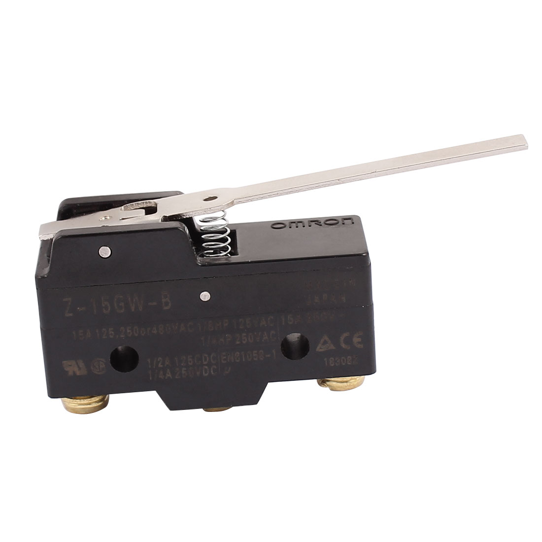 Long Hinge Lever Momentary Action Micro Switch 15A/250VAC 1NO 1NC