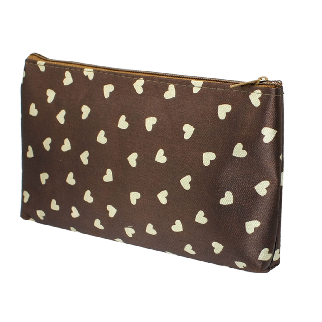 Ladies Beige Heart Shape Pattern Zip Up Brown Cosmetic Pouch Bag Case