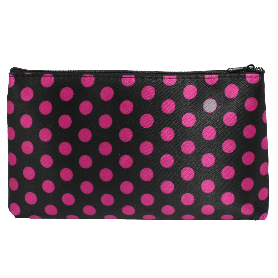 Ladies Fuchsia Dots Pattern Zipped Black Cosmetic Pouch Bag Organizer
