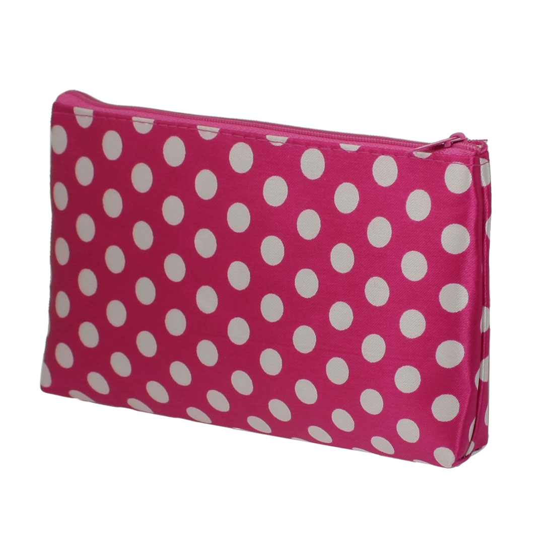 Ladies White Dots Pattern Zipped Fuchsia Cosmetic Pouch Bag Organizer