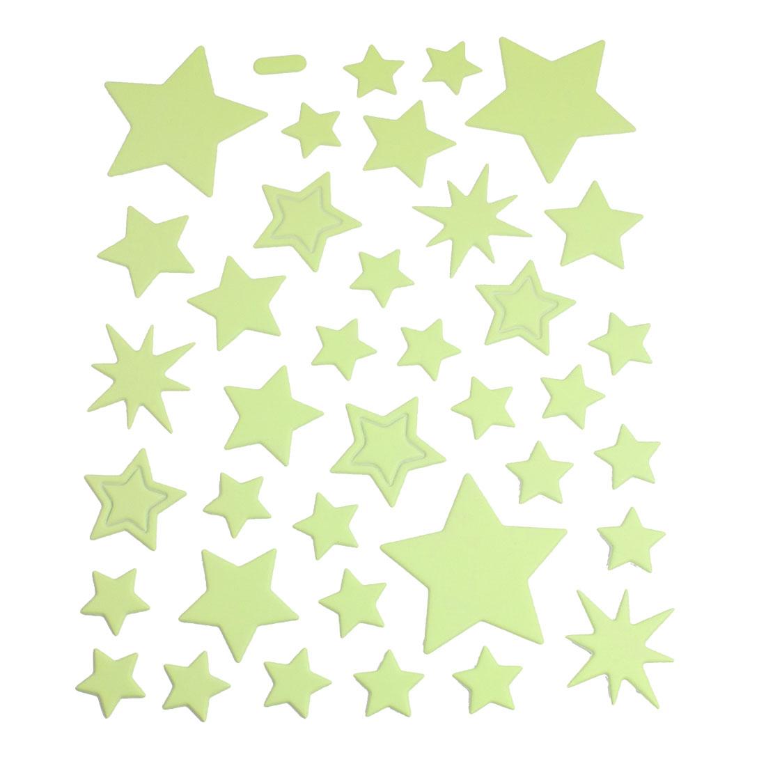 37 Pcs Light Green Black Star Shape Decorative Luminous Sticker Decal Decor