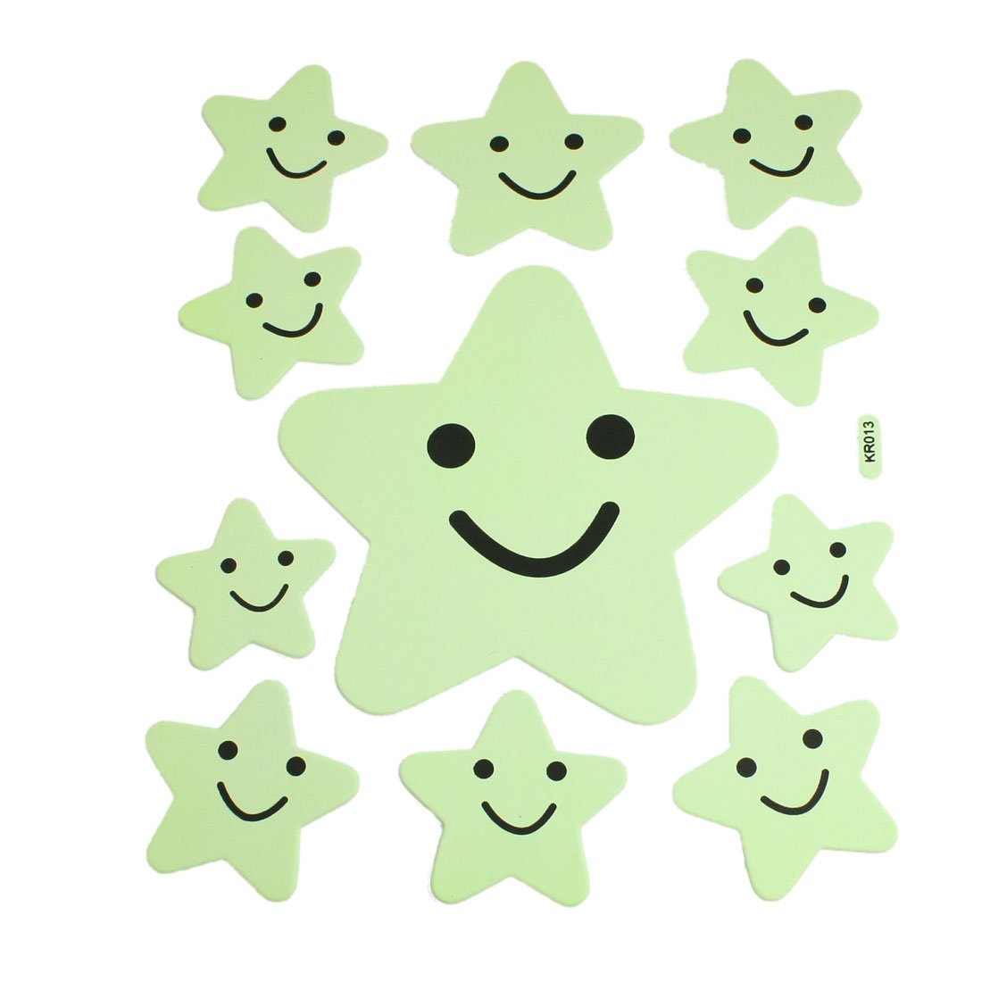 11 Pcs Light Green Black Smile Star Shape Decorative Luminous Sticker Decals