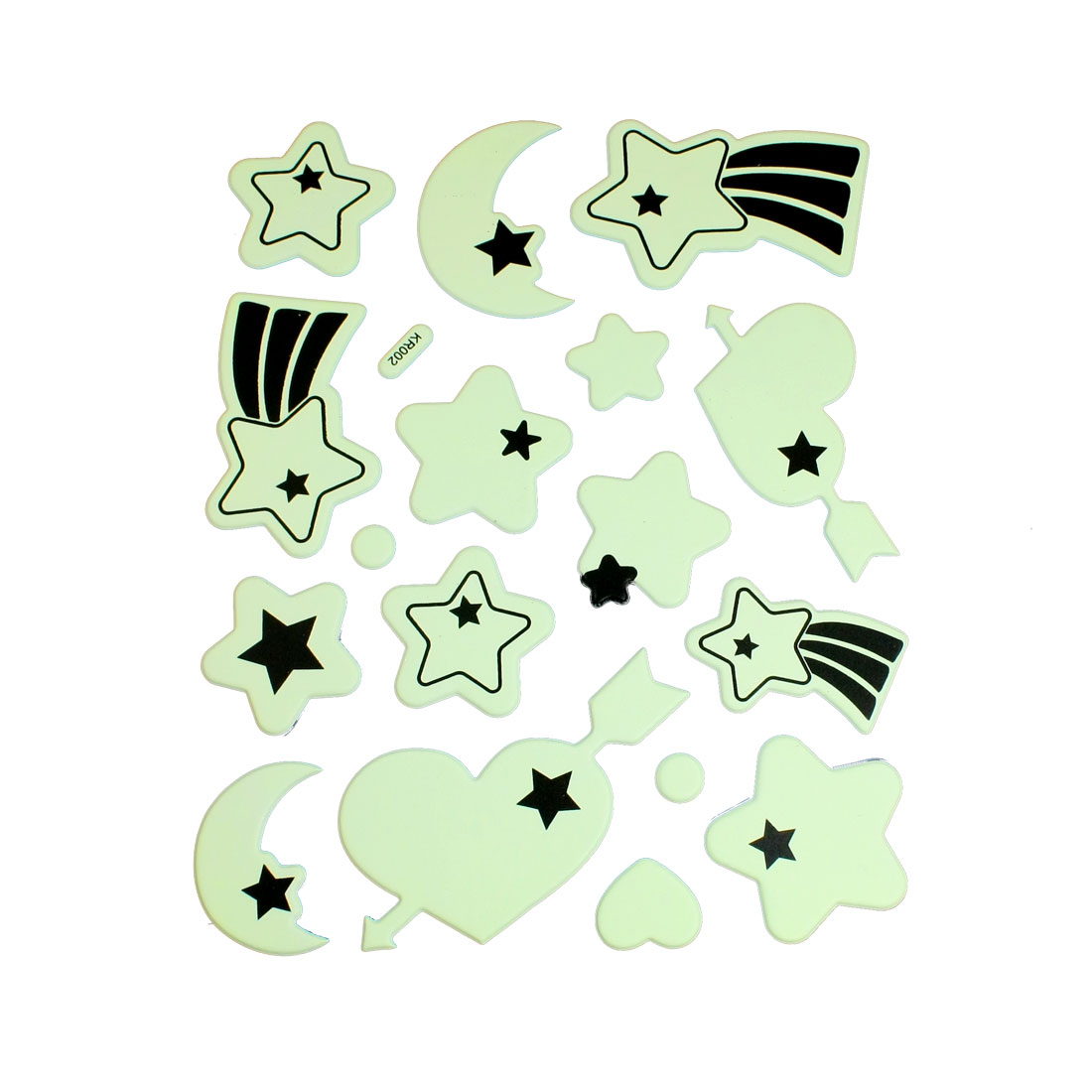 17 Pcs Light Green Black Star Half Moon Heart Shape Luminous Sticker Decals