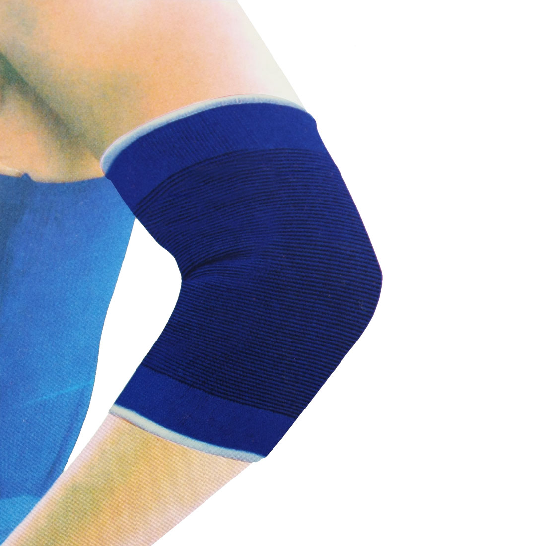Pair Sports Protective Striped Elastic Elbow Support Sleeve Brace Blue Black